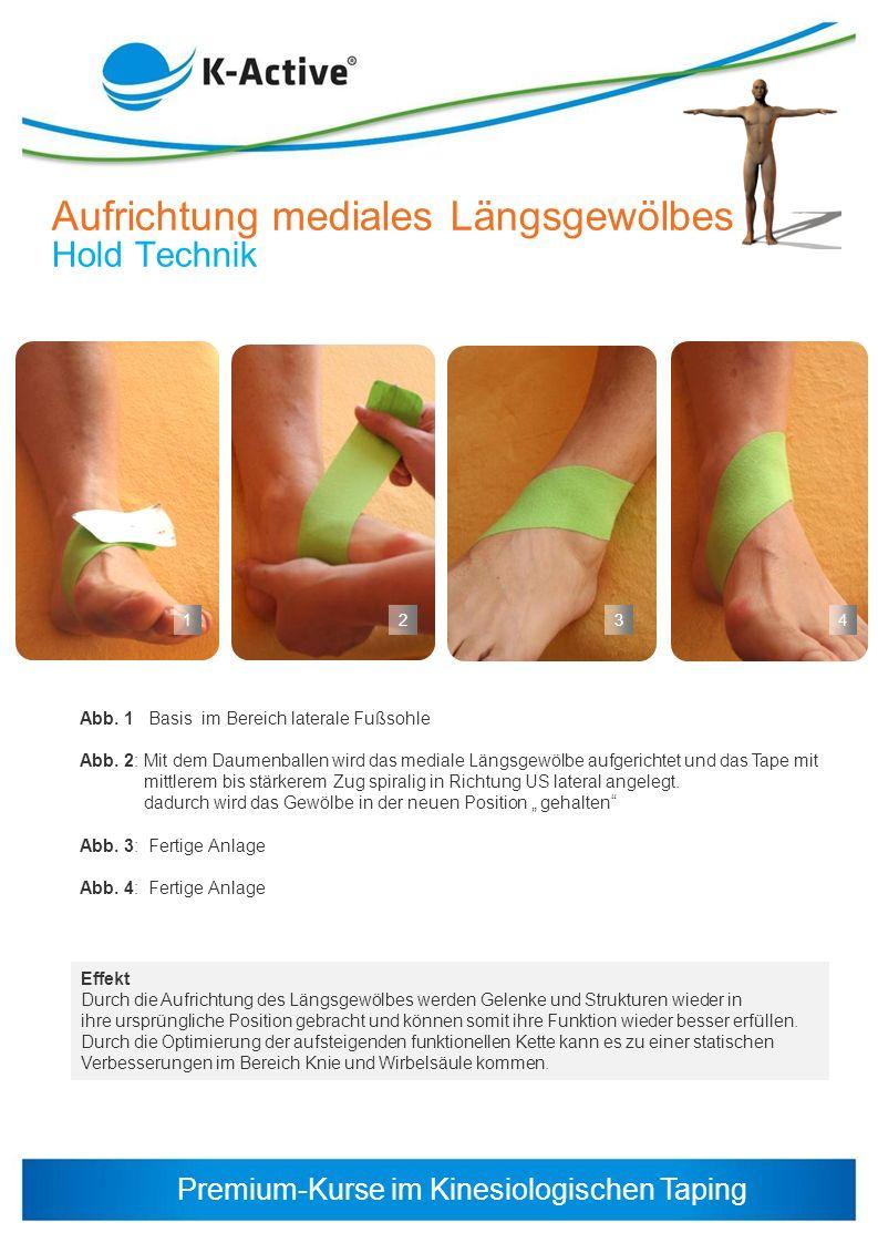 Premium-Kurse im Kinesiologischen Taping 23 Abb. 1 Basis im Bereich laterale Fußsohle Abb. 2: Mit dem Daumenballen wird das mediale Längsgewölbe aufge