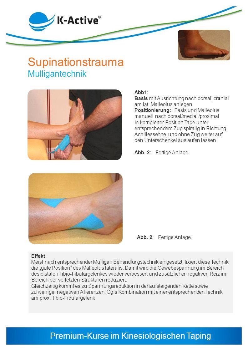 Premium-Kurse im Kinesiologischen Taping Abb1: Basis mit Ausrichtung nach dorsal, cranial am lat. Malleolus anlegen Positionierung: Basis und Malleolu