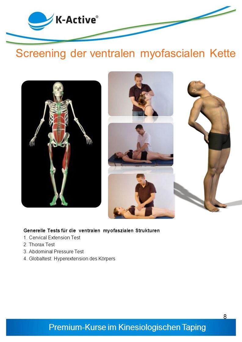 Premium-Kurse im Kinesiologischen Taping Generelle Tests für die ventralen myofaszialen Strukturen 1. Cervical Extension Test 2. Thorax Test 3. Abdomi