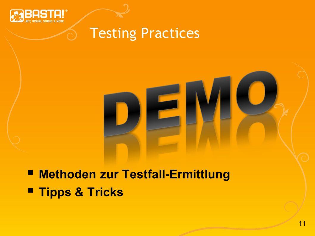11 Testing Practices Methoden zur Testfall-Ermittlung Tipps & Tricks