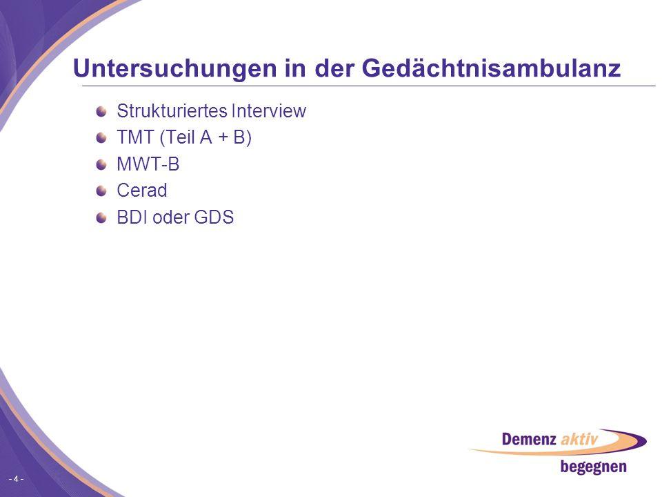 - 4 - Untersuchungen in der Gedächtnisambulanz Strukturiertes Interview TMT (Teil A + B) MWT-B Cerad BDI oder GDS