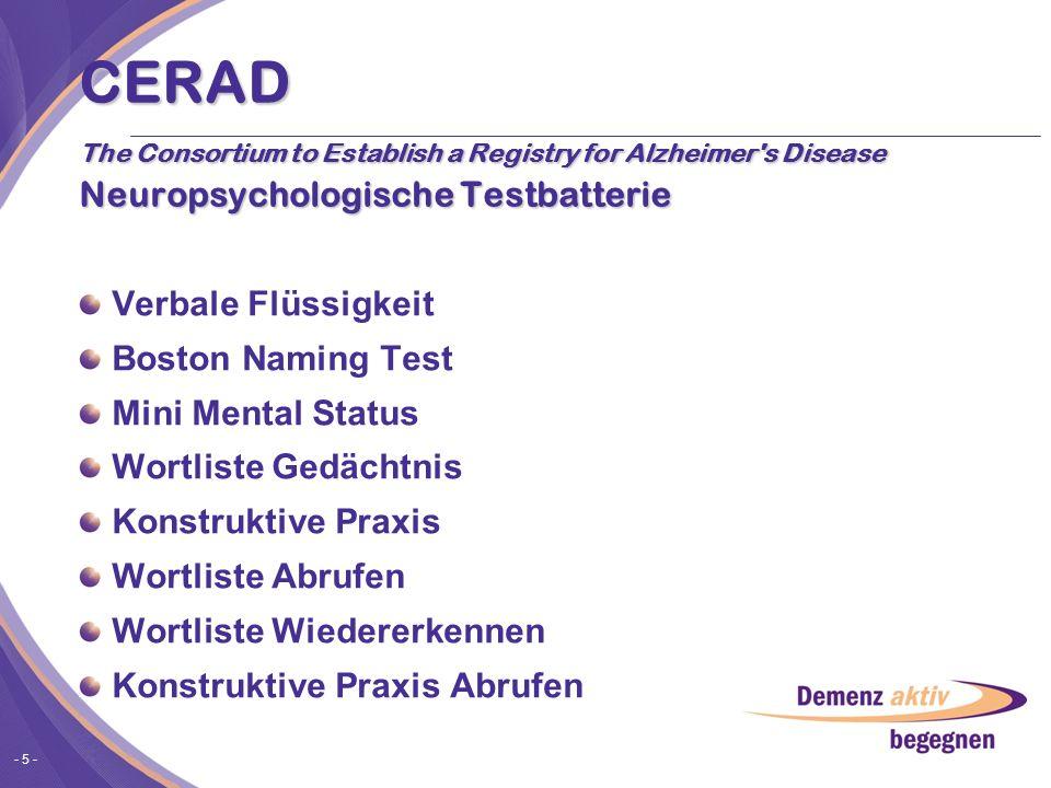 - 5 - CERAD The Consortium to Establish a Registry for Alzheimer's Disease Neuropsychologische Testbatterie Verbale Flüssigkeit Boston Naming Test Min