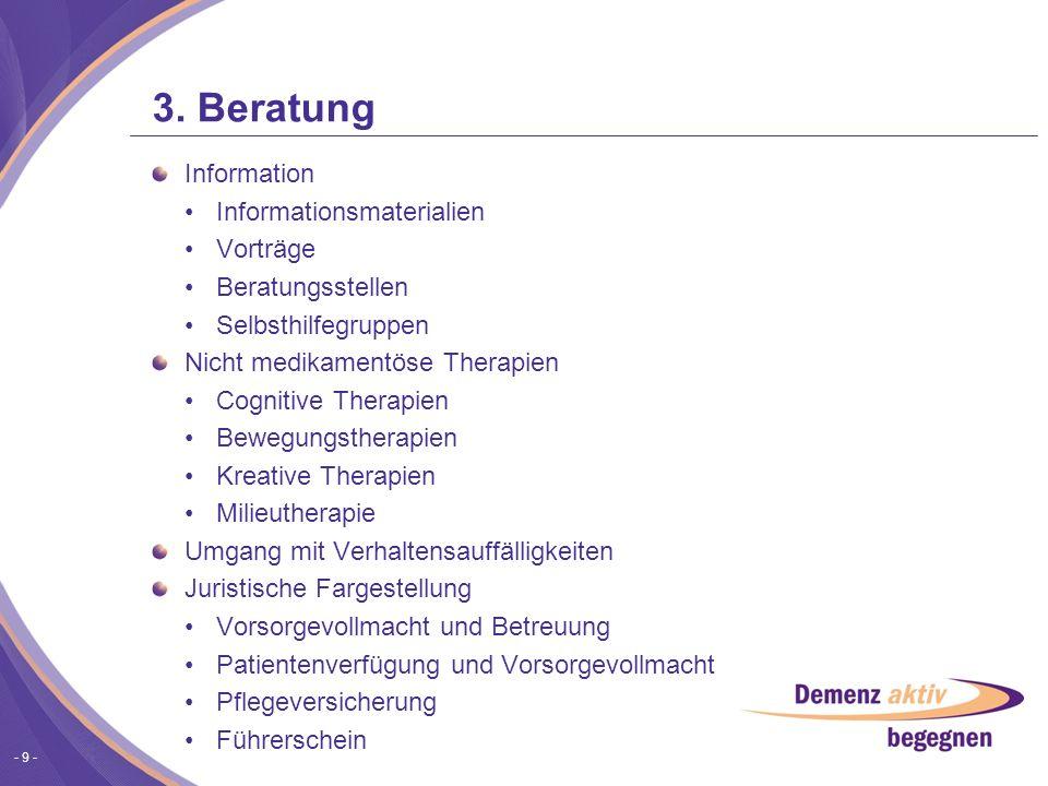 - 9 - 3. Beratung Information Informationsmaterialien Vorträge Beratungsstellen Selbsthilfegruppen Nicht medikamentöse Therapien Cognitive Therapien B