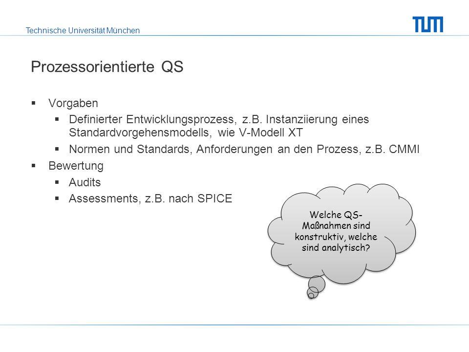 Technische Universität München Prozessorientierte QS Vorgaben Definierter Entwicklungsprozess, z.B.