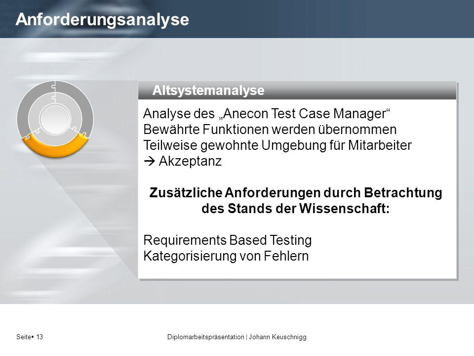 Seite 13 Anforderungsanalyse Diplomarbeitspräsentation   Johann Keuschnigg Altsystemanalyse Analyse des Anecon Test Case Manager Bewährte Funktionen w