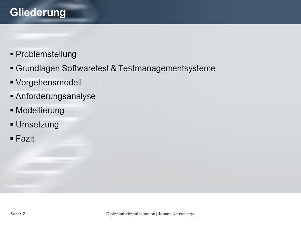 Seite 2 Gliederung Problemstellung Grundlagen Softwaretest & Testmanagementsysteme Vorgehensmodell Anforderungsanalyse Modellierung Umsetzung Fazit Di