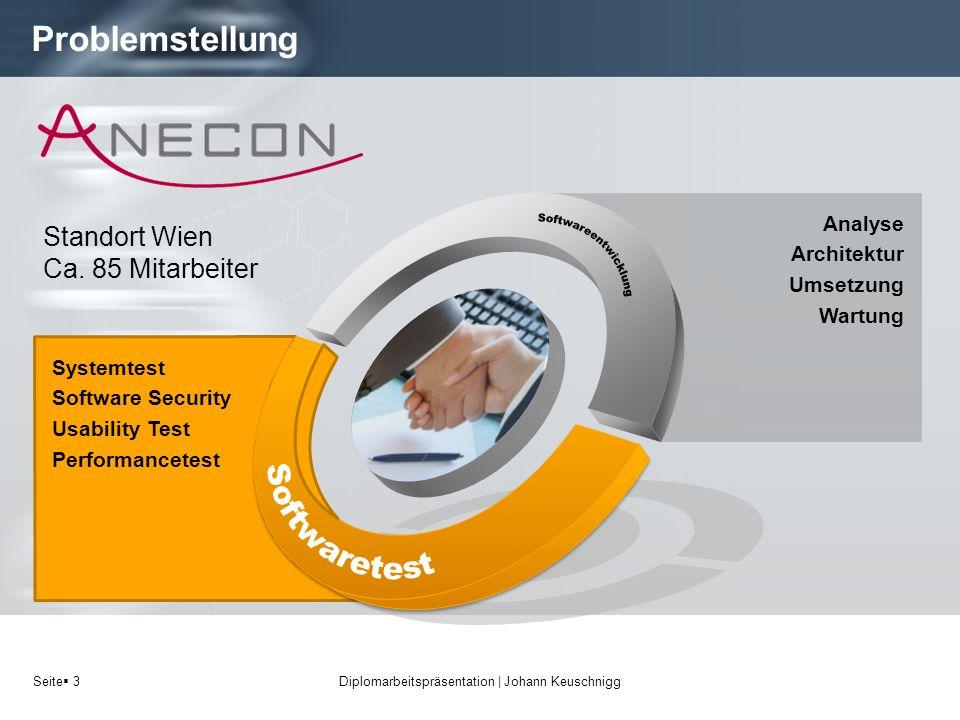 Seite 3 Problemstellung Diplomarbeitspräsentation   Johann Keuschnigg Systemtest Software Security Usability Test Performancetest Standort Wien Ca. 85