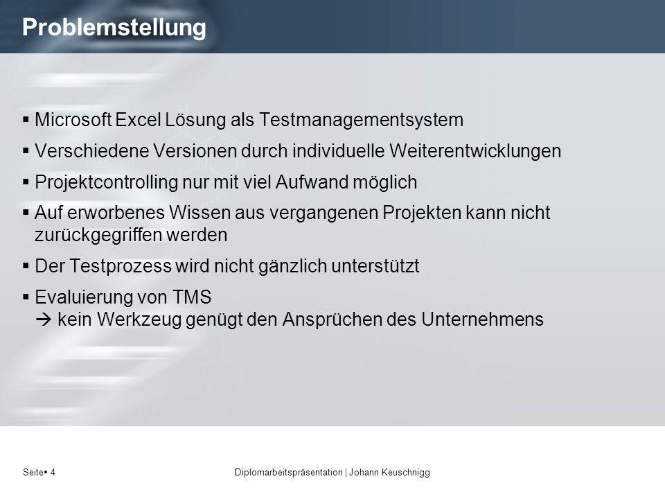 Seite 4 Problemstellung Microsoft Excel Lösung als Testmanagementsystem Verschiedene Versionen durch individuelle Weiterentwicklungen Projektcontrolli