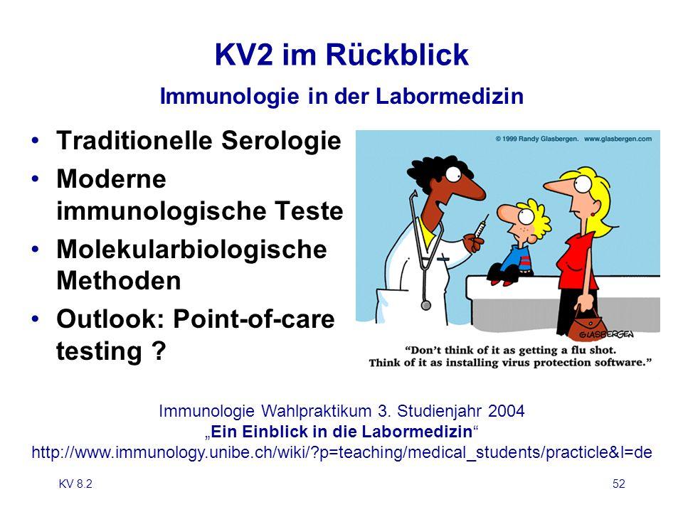 KV 8.252 KV2 im Rückblick Immunologie in der Labormedizin Traditionelle Serologie Moderne immunologische Teste Molekularbiologische Methoden Outlook: