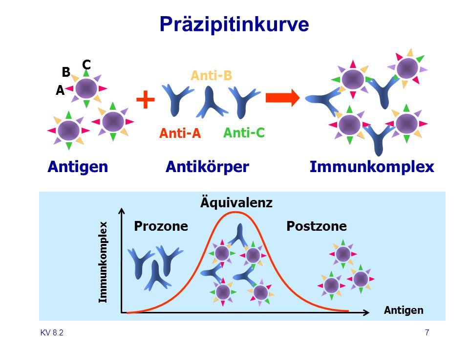 KV 8.27 Antigen Präzipitinkurve + Anti-A Anti-B Anti-C C B A AntikörperImmunkomplex Antigen ProzonePostzone Äquivalenz