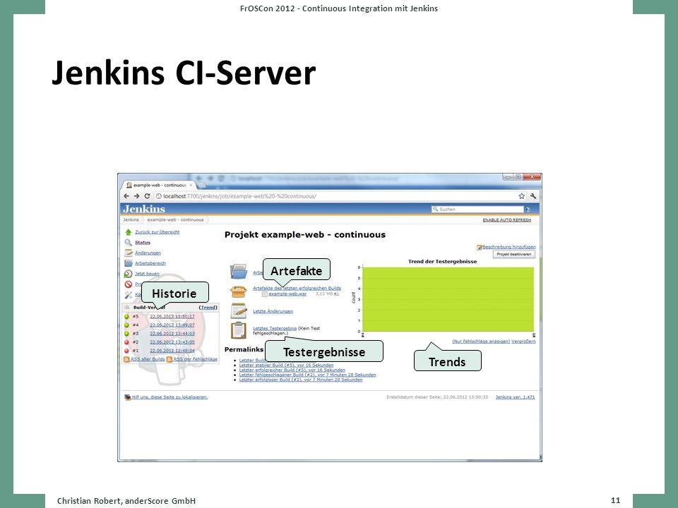 Jenkins CI-Server Christian Robert, anderScore GmbH 11 FrOSCon 2012 - Continuous Integration mit Jenkins Historie Artefakte Testergebnisse Trends