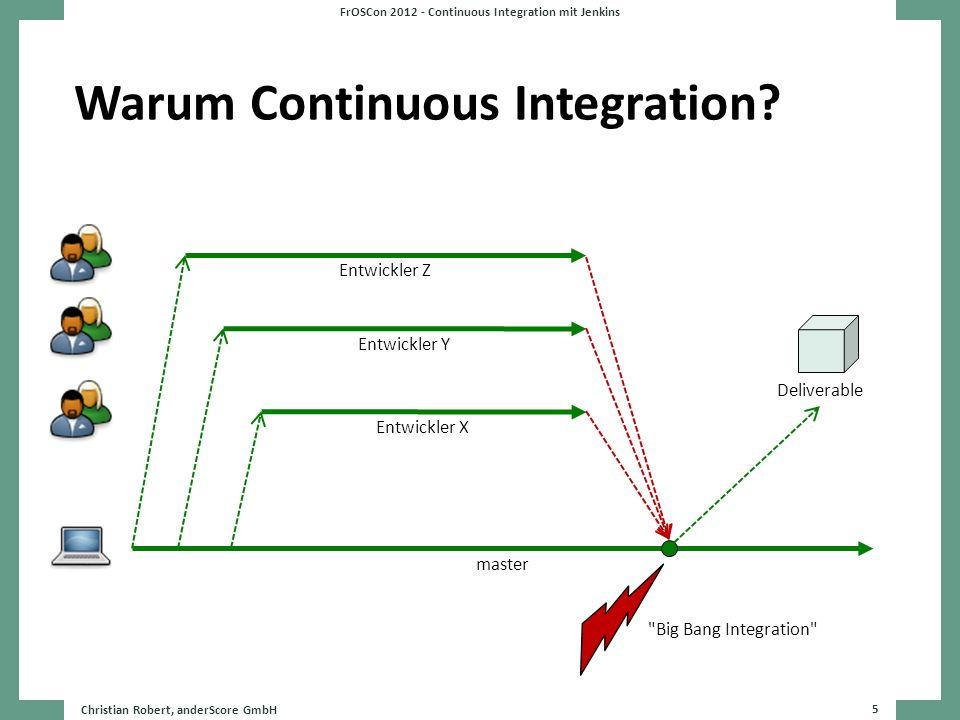Warum Continuous Integration? Christian Robert, anderScore GmbH 5 FrOSCon 2012 - Continuous Integration mit Jenkins master Entwickler Z Entwickler Y E