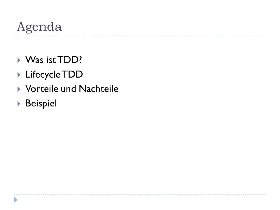 Agenda Was ist TDD? Lifecycle TDD Vorteile und Nachteile Beispiel