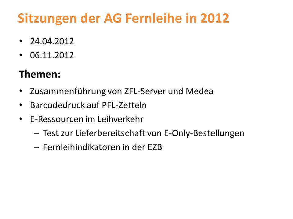 Sitzungen der AG Fernleihe in 2012 24.04.2012 06.11.2012 Themen: Zusammenführung von ZFL-Server und Medea Barcodedruck auf PFL-Zetteln E-Ressourcen im