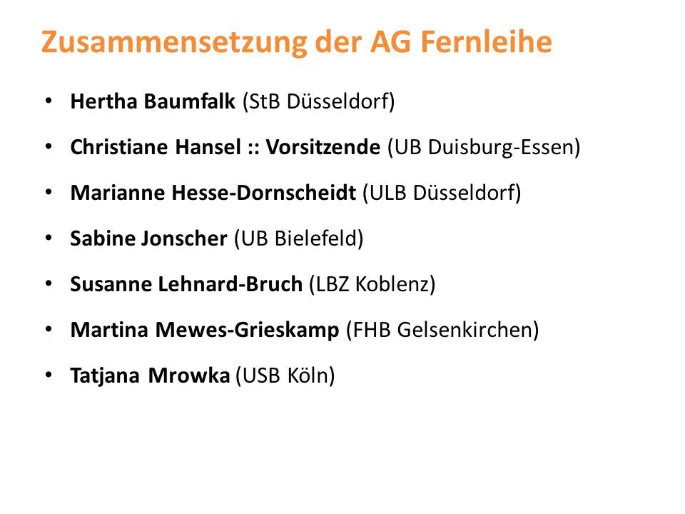 Zusammensetzung der AG Fernleihe Hertha Baumfalk (StB Düsseldorf) Christiane Hansel :: Vorsitzende (UB Duisburg-Essen) Marianne Hesse-Dornscheidt (ULB