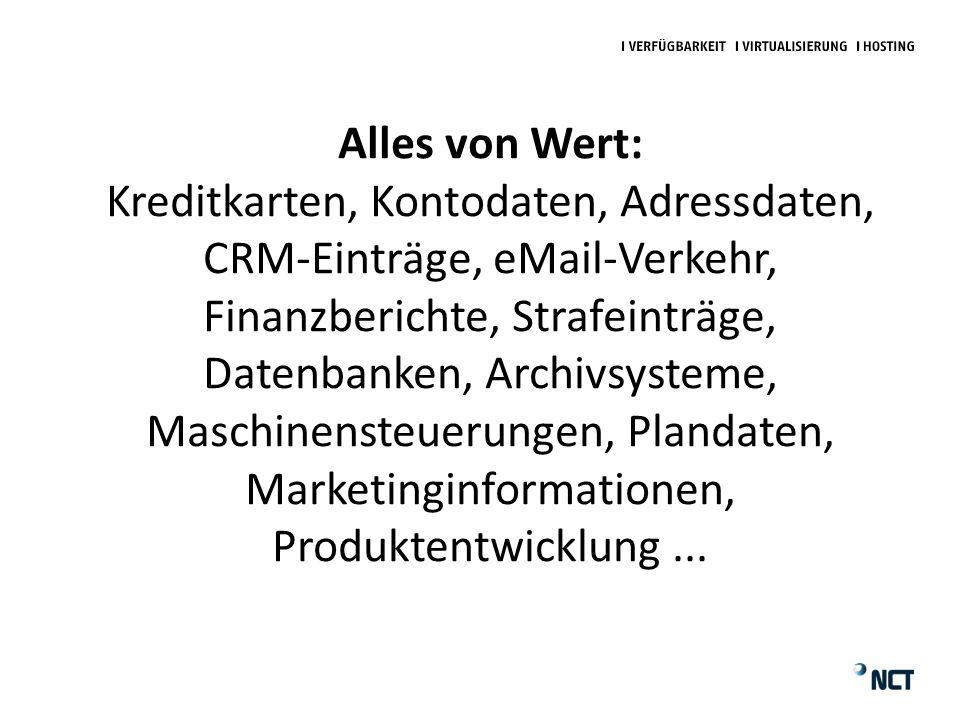 Alles von Wert: Kreditkarten, Kontodaten, Adressdaten, CRM-Einträge, eMail-Verkehr, Finanzberichte, Strafeinträge, Datenbanken, Archivsysteme, Maschinensteuerungen, Plandaten, Marketinginformationen, Produktentwicklung...