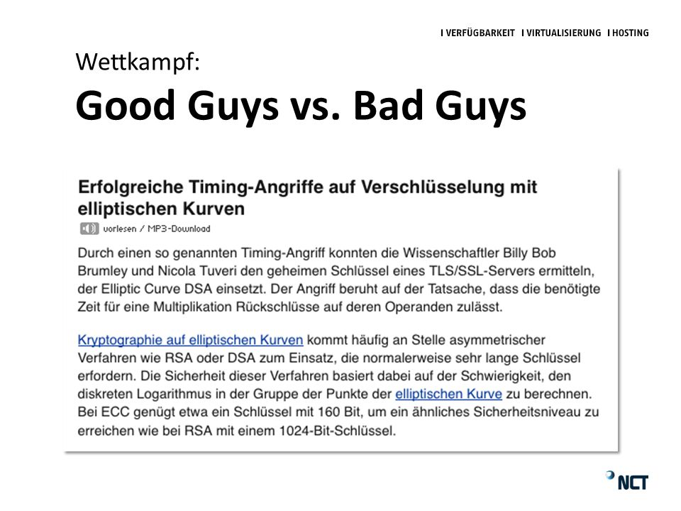 Wettkampf: Good Guys vs. Bad Guys