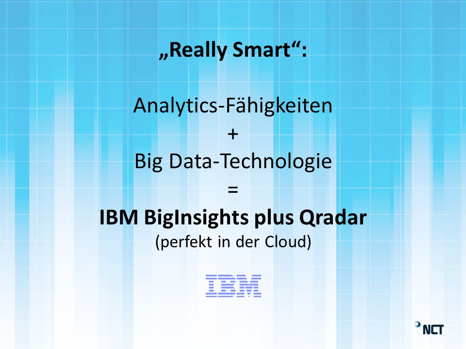 Really Smart: Analytics-Fähigkeiten + Big Data-Technologie = IBM BigInsights plus Qradar (perfekt in der Cloud)