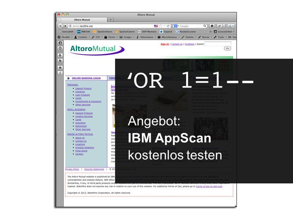 Angebot: IBM AppScan kostenlos testen