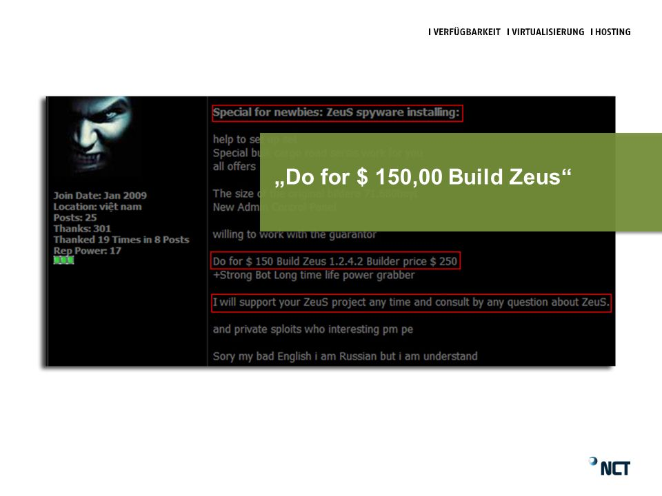 Do for $ 150,00 Build Zeus