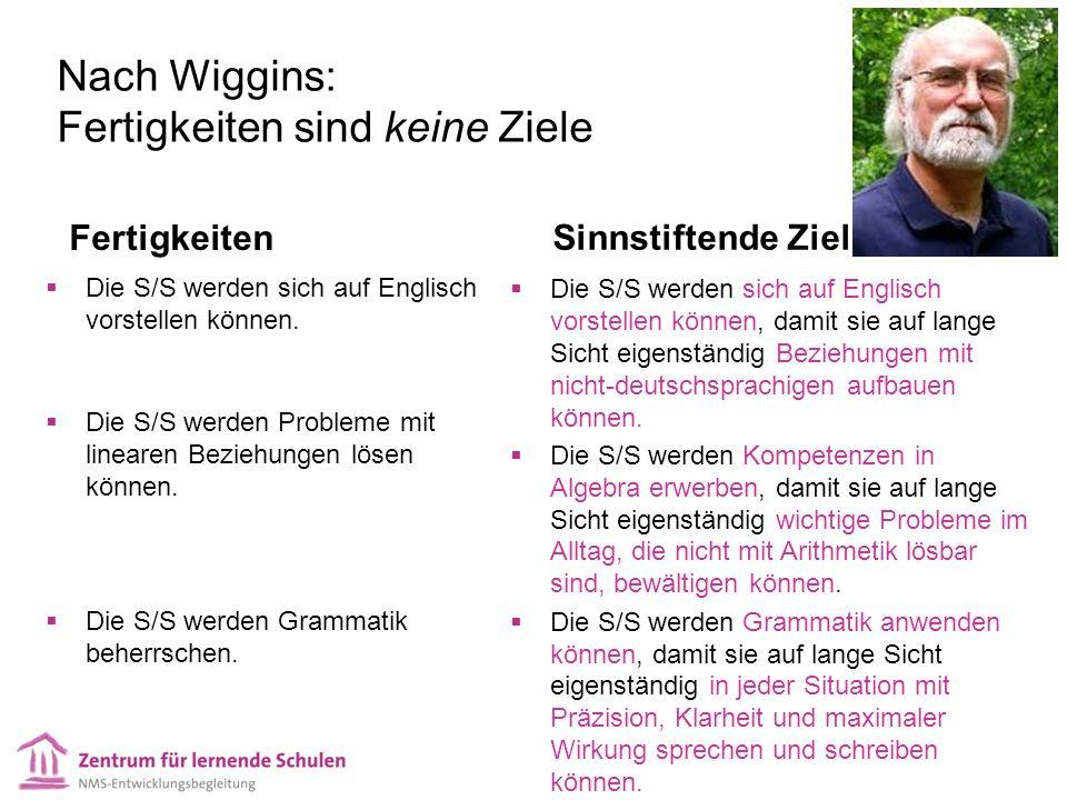 Nach Wiggins: Fertigkeiten sind keine Ziele Fertigkeiten Die S/S werden sich auf Englisch vorstellen können. Die S/S werden Probleme mit linearen Bezi