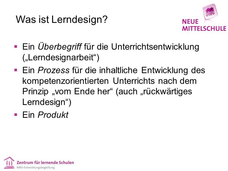 Was ist Lerndesign? Ein Überbegriff für die Unterrichtsentwicklung (Lerndesignarbeit) Ein Prozess für die inhaltliche Entwicklung des kompetenzorienti
