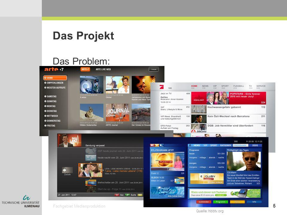 Fachgebiet Medienproduktion 6 Das Projekt Das Ziel: Einheitliche Bedienung der HbbTV –Angebote Guidelines für Entwickler