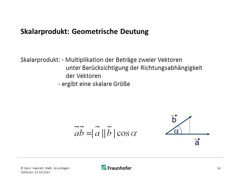 Skalarprodukt: Geometrische Deutung 14© Karin Haenelt, Math. Grundlagen: Vektoren, 13.10.2013 Skalarprodukt: - Multiplikation der Beträge zweier Vekto