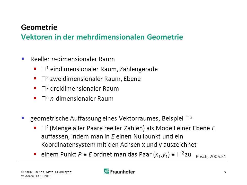Geometrie Vektoren in der mehrdimensionalen Geometrie Reeller n-dimensionaler Raum 1 eindimensionaler Raum, Zahlengerade 2 zweidimensionaler Raum, Ebe