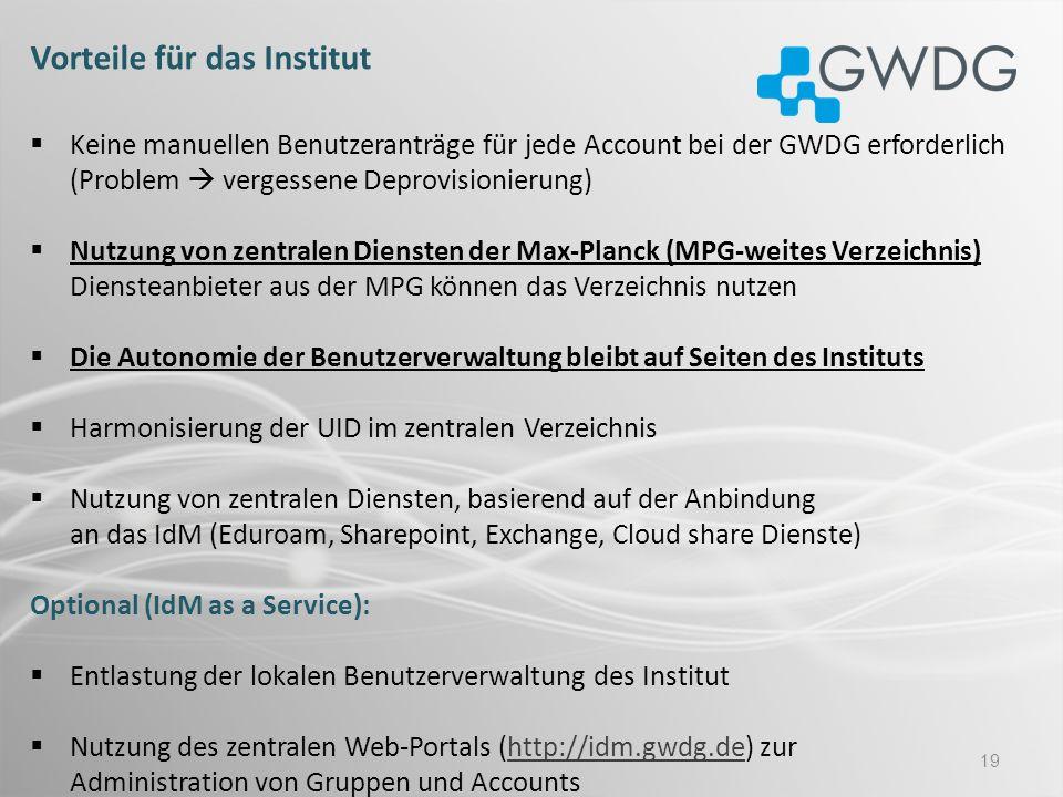 19 Vorteile für das Institut Keine manuellen Benutzeranträge für jede Account bei der GWDG erforderlich (Problem vergessene Deprovisionierung) Nutzung