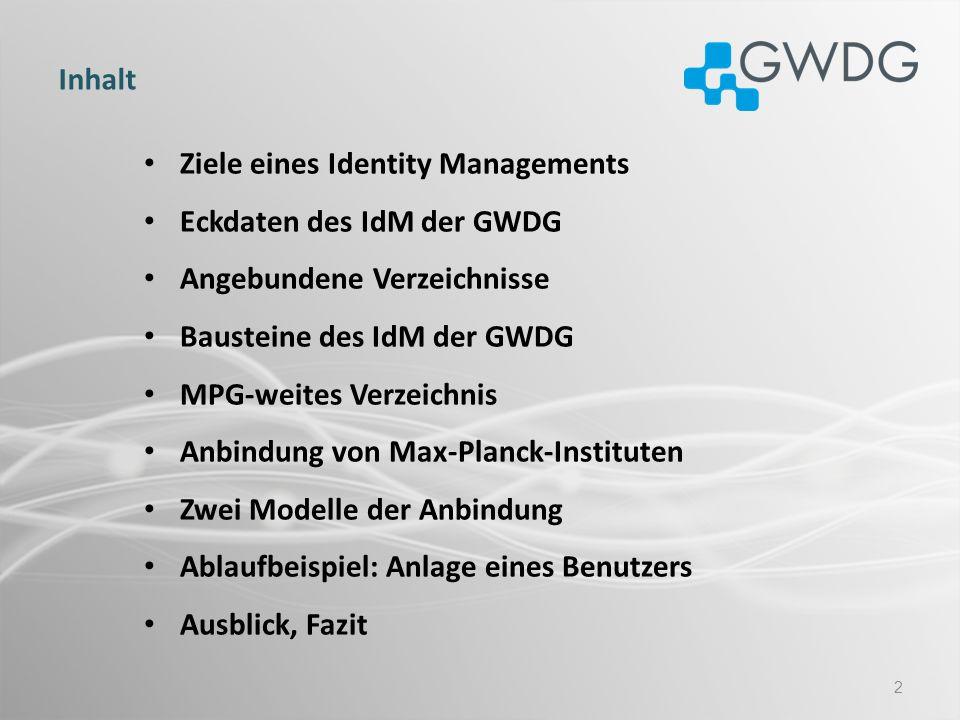 Ziele eines/des Identity Managements Aggregierung von existierenden Identitäten und Accounts Die Schaffung von Konvergenz in den Bereichen Verzeichnisdienste und Benutzerkonten Abbildung und Konsolidierung von Prozessen für die Benutzeranlage und Deprovisionierung Regelung von Zugriffsrechten in den angebundenen Verzeichnissen Abbildung von Rollen und Gruppen in den Zielverzeichnissen Aufbau eines föderativen zentralen Verzeichnisses der Max-Planck Nutzung zentraler Max-Planck Dienste über das IdM