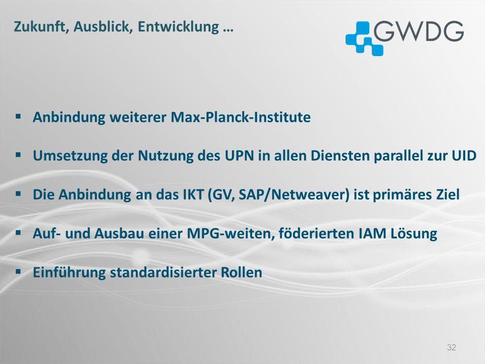 32 Anbindung weiterer Max-Planck-Institute Umsetzung der Nutzung des UPN in allen Diensten parallel zur UID Die Anbindung an das IKT (GV, SAP/Netweave