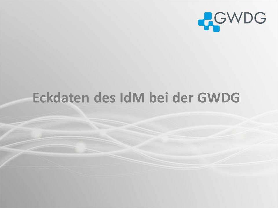 Einführung des IdM im Juni 2005, mit der Anbindung lokaler Verzeichnisse der GWDG (Windows AD, LDAP) sowie Verzeichnisse der Studierenden (2006) Max-Planck Institute in Göttingen (2008) Derzeit insgesamt ca.