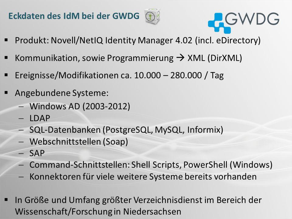 Eckdaten des IdM bei der GWDG Produkt: Novell/NetIQ Identity Manager 4.02 (incl. eDirectory) Kommunikation, sowie Programmierung XML (DirXML) Ereignis