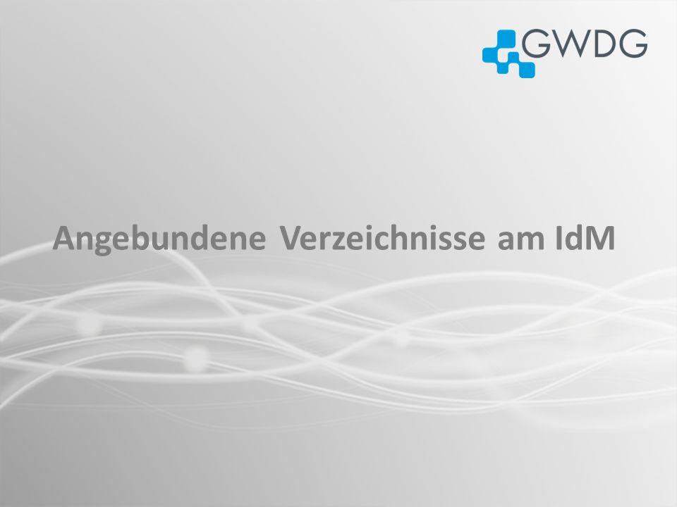Diverse Prozesse und Scripts Windows Exchange der GWDG MetaDirectory (Identity Vault) Windows AD der GWDG Diverse Max-Planck-Institute Windows AD, LDAP, db Datenquelle Datensenke Legende Angebundene Verzeichnisse am IdM LDAP der GWDG Benutzer-Portal Diverse Universitäts-Institute Sudierende (HIS) Sudierende (FlexNow) IdM-Portal Klinikum (UMG) der Universität SAP der Universität In 2011: Einführung der Mandantentrennung (Max-Planck/Universität) im IdM Trennung der Bereiche in unterschiedliche Partitionen