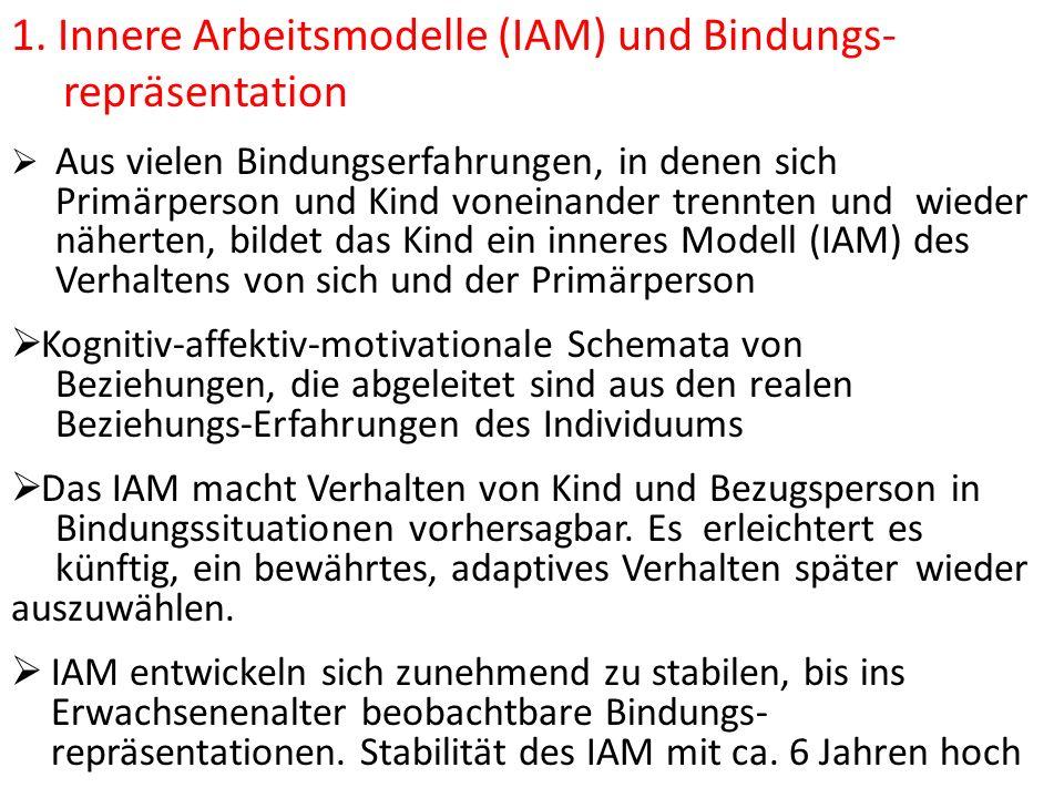 1. Innere Arbeitsmodelle (IAM) und Bindungs- repräsentation Aus vielen Bindungserfahrungen, in denen sich Primärperson und Kind voneinander trennten u