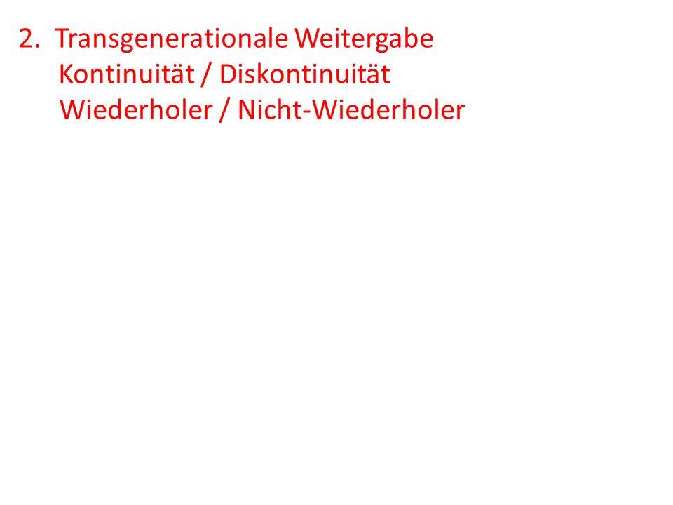 2. Transgenerationale Weitergabe Kontinuität / Diskontinuität Wiederholer / Nicht-Wiederholer