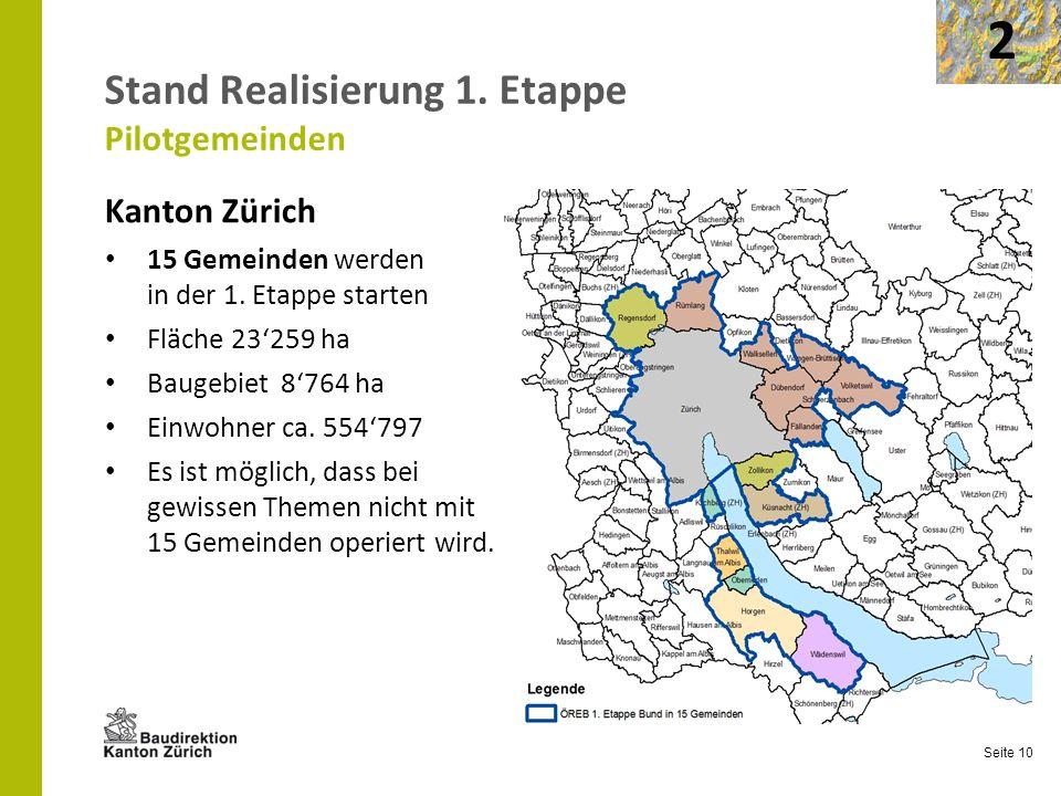 Seite 10 Stand Realisierung 1. Etappe Pilotgemeinden Kanton Zürich 15 Gemeinden werden in der 1. Etappe starten Fläche 23259 ha Baugebiet 8764 ha Einw