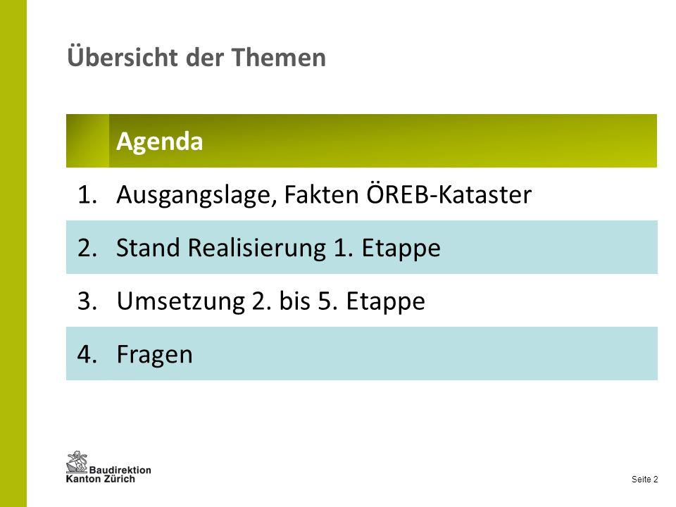 Seite 2 Übersicht der Themen Agenda 1.Ausgangslage, Fakten ÖREB-Kataster 2.Stand Realisierung 1. Etappe 3.Umsetzung 2. bis 5. Etappe 4.Fragen