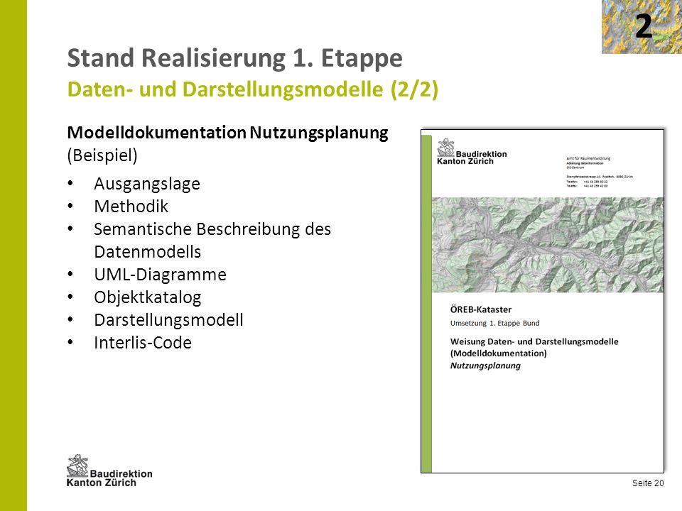 Seite 20 Stand Realisierung 1. Etappe Daten- und Darstellungsmodelle (2/2) Modelldokumentation Nutzungsplanung (Beispiel) Ausgangslage Methodik Semant