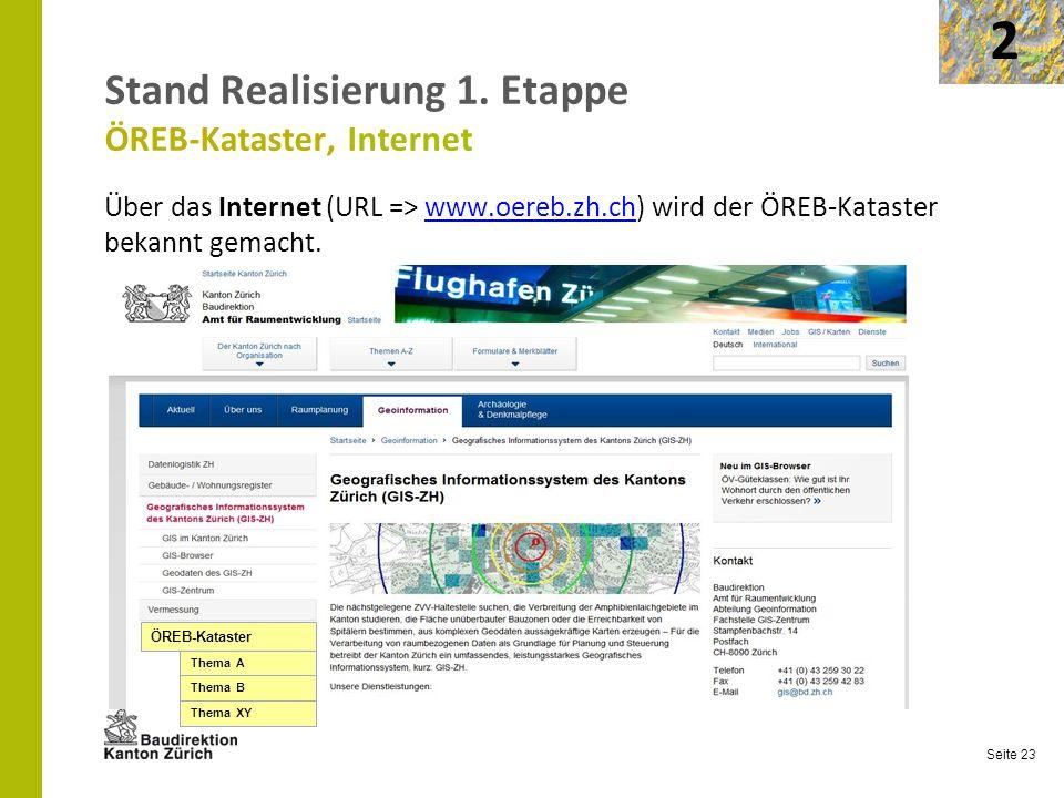 Seite 23 Stand Realisierung 1. Etappe ÖREB-Kataster, Internet Über das Internet (URL => www.oereb.zh.ch) wird der ÖREB-Kataster bekannt gemacht.www.oe