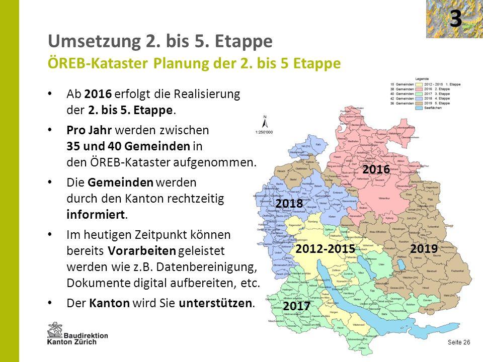 Seite 26 Umsetzung 2. bis 5. Etappe ÖREB-Kataster Planung der 2. bis 5 Etappe Ab 2016 erfolgt die Realisierung der 2. bis 5. Etappe. Pro Jahr werden z