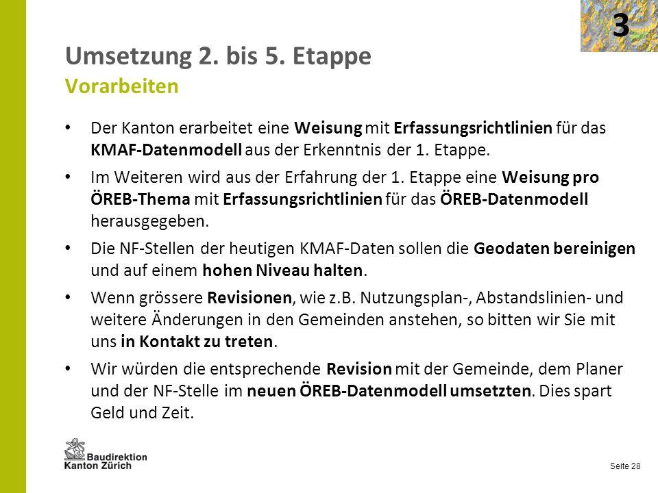 Seite 28 Umsetzung 2. bis 5. Etappe Vorarbeiten Der Kanton erarbeitet eine Weisung mit Erfassungsrichtlinien für das KMAF-Datenmodell aus der Erkenntn