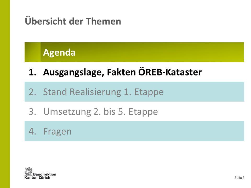 Seite 3 Übersicht der Themen Agenda 1.Ausgangslage, Fakten ÖREB-Kataster 2.Stand Realisierung 1.