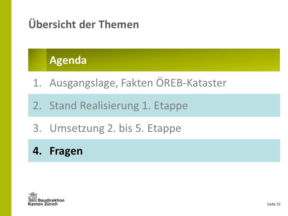 Seite 30 Übersicht der Themen Agenda 1.Ausgangslage, Fakten ÖREB-Kataster 2.Stand Realisierung 1. Etappe 3.Umsetzung 2. bis 5. Etappe 4.Fragen