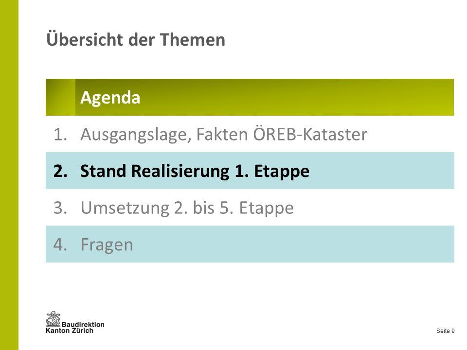 Seite 9 Übersicht der Themen Agenda 1.Ausgangslage, Fakten ÖREB-Kataster 2.Stand Realisierung 1. Etappe 3.Umsetzung 2. bis 5. Etappe 4.Fragen