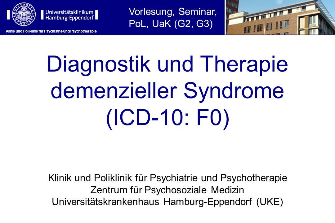 Klinik und Poliklinik für Psychiatrie und Psychotherapie Kriterien der Lewy-Körperchen Demenz (I) SubtypLeitlinieKlinisch-diagnostische Konsensuskriterien Lewy- Körper- chen- Demenz (LKD) Lewy-Body- Dementia (DLB) Newcastle I.