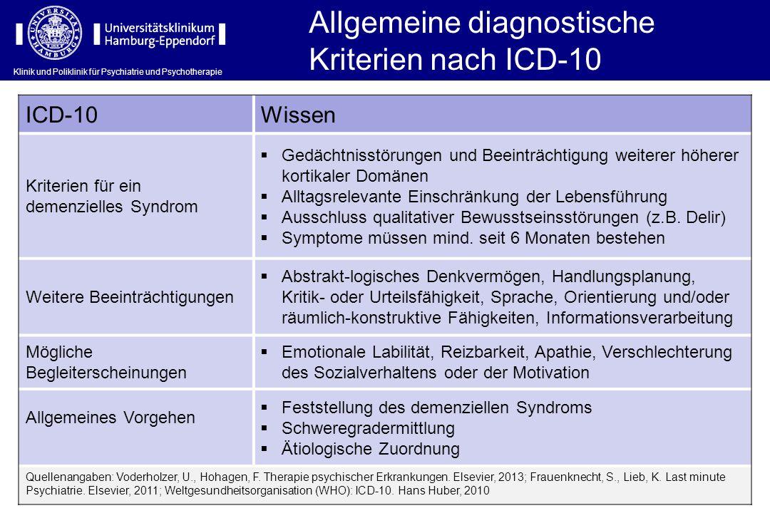 Klinik und Poliklinik für Psychiatrie und Psychotherapie Allgemeine diagnostische Kriterien nach ICD-10 ICD-10Wissen Kriterien für ein demenzielles Sy