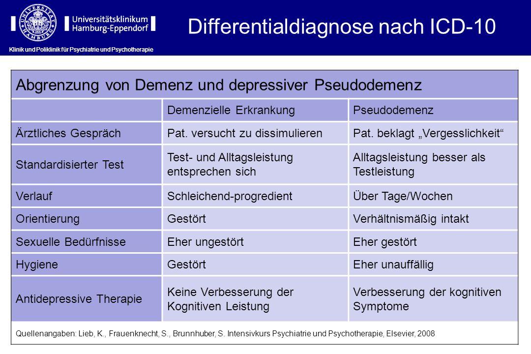 Klinik und Poliklinik für Psychiatrie und Psychotherapie Differentialdiagnose nach ICD-10 Abgrenzung von Demenz und depressiver Pseudodemenz Demenziel
