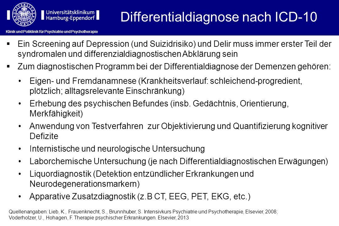Klinik und Poliklinik für Psychiatrie und Psychotherapie Differentialdiagnose nach ICD-10 Eigen- und Fremdanamnese (Krankheitsverlauf: schleichend-pro